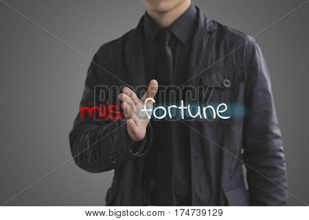 Fortune Concept. Businessman Misfortune The Unknown Into Fortune.