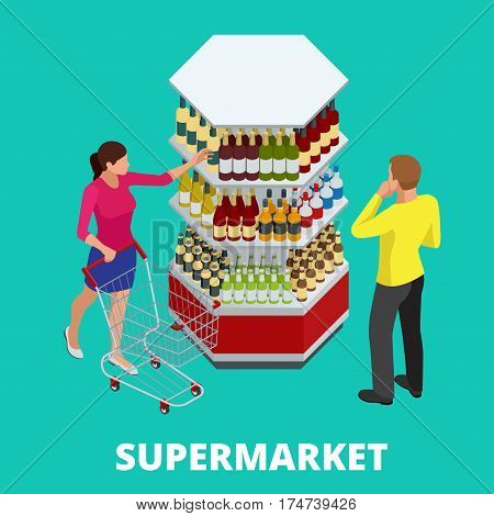 Women and men shopping alcohol in supermarket. Shelves with alcohol bottles. Choosing wine for dinner. Happy young couple choosing wine together while standing in wine store.