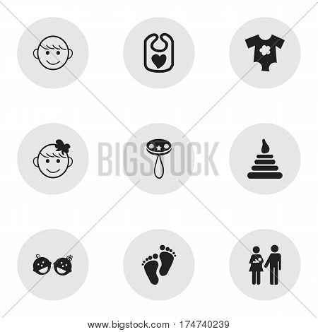 Set Of 9 Editable Infant Icons. Includes Symbols Such As Footmark, Lineage, Merry Children And More. Can Be Used For Web, Mobile, UI And Infographic Design.
