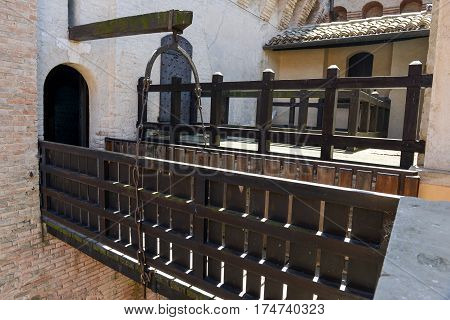 Gradara, Italy - 2 July 2016: Drawbridge of Gradara castle on Marche Italy