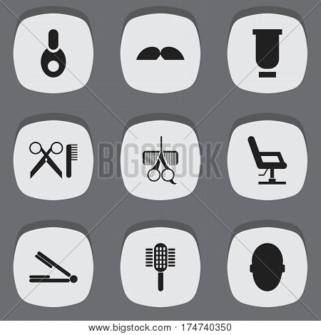 Set Of 9 Editable Hairstylist Icons. Includes Symbols Such As Vial, Barber Tools, Whiskers And More. Can Be Used For Web, Mobile, UI And Infographic Design.