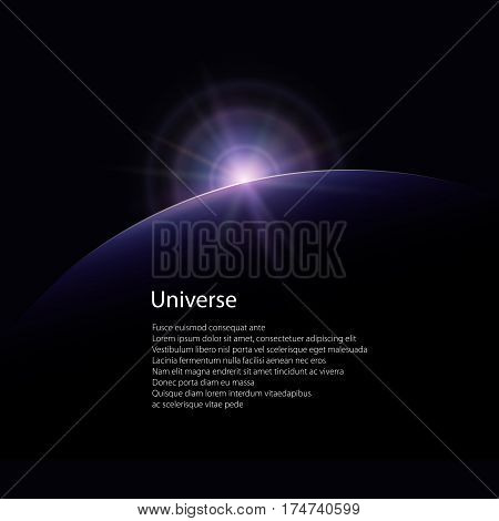View from Space Star, Rises above the Planet and Text, the Sun Rising over the Earth, Rays and Glare over the Earth ,Space Background, Poster Brochure Flyer Design ,Vector Illustration