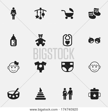 Set Of 16 Editable Child Icons. Includes Symbols Such As Pinafore, Small Dresses, Stroller And More. Can Be Used For Web, Mobile, UI And Infographic Design.