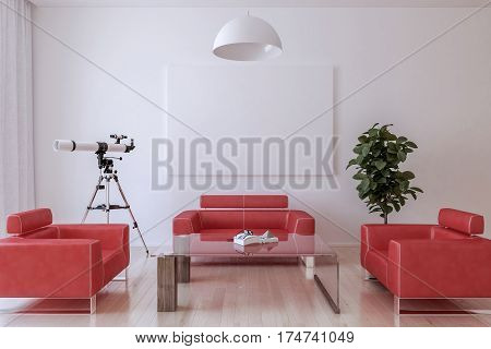 Red leather armchairs a table a house plant and a telescope in the living room. Blank canvas on the wall and chandelier. 3d Render