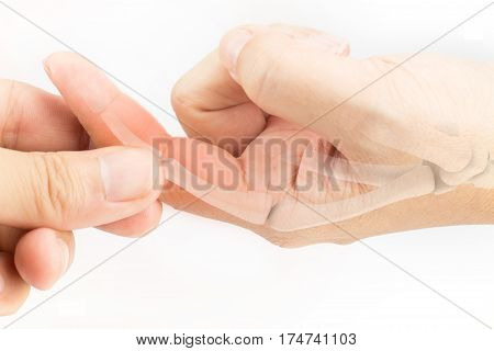 finger bone pain white background finger bone