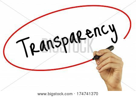 Man Hand writing Transparency with black marker on visual screen. Isolated on background. Business technology internet concept. Stock Photo poster