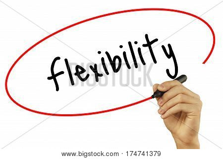 Man Hand Writing Flexibility With Black Marker On Visual Screen. Isolated On Background. Business, T