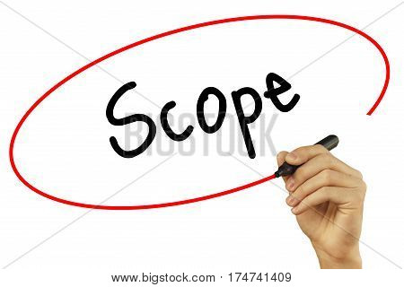 Man Hand Writing Scope With Black Marker On Visual Screen. Isolated On Background. Business, Technol