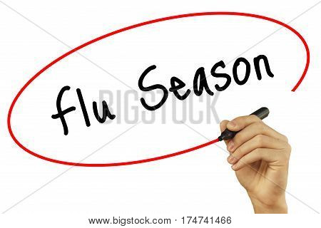 Man Hand Writing Flu Season With Black Marker On Visual Screen. Isolated On Background. Business, Te