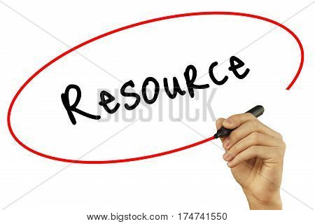Man Hand Writing Resource With Black Marker On Visual Screen. Isolated On Background. Business, Tech
