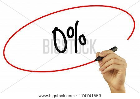 Man Hand Writing 0% With Black Marker On Visual Screen. Isolated On Background. Business, Technology
