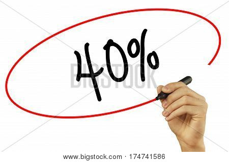 Man Hand Writing 40% With Black Marker On Visual Screen. Isolated On Background. Business, Technolog
