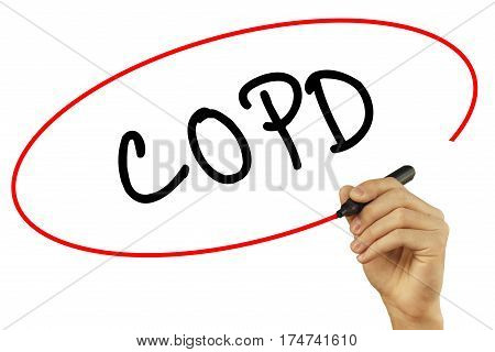 Man Hand Writing Copd With Black Marker On Visual Screen. Isolated On Background. Business, Technolo