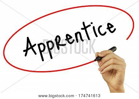 Man Hand Writing Apprentice With Black Marker On Visual Screen. Isolated On Background. Business, Te