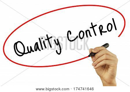 Man Hand Writing Quality Control With Black Marker On Visual Screen. Isolated On Background. Busines
