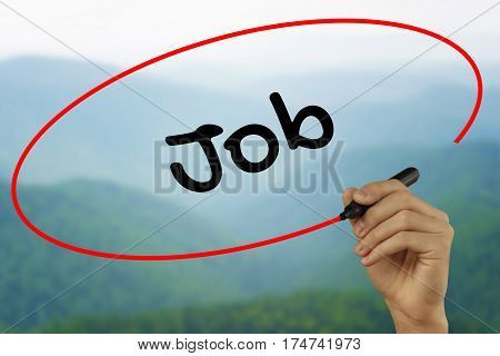 Man Hand Writing Job With Black Marker On Visual Screen. Isolated On Background. Business, Technolog
