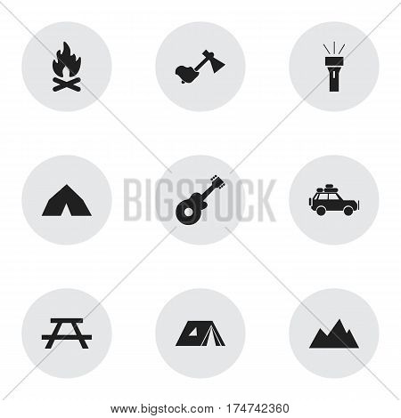 Set Of 9 Editable Trip Icons. Includes Symbols Such As Peak, Tepee, Lantern And More. Can Be Used For Web, Mobile, UI And Infographic Design.