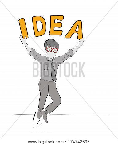 Happy businessman came up with business idea. Businessman standing with idea bulb above his head. Business idea concept. Vector flat design illustration isolated on white background