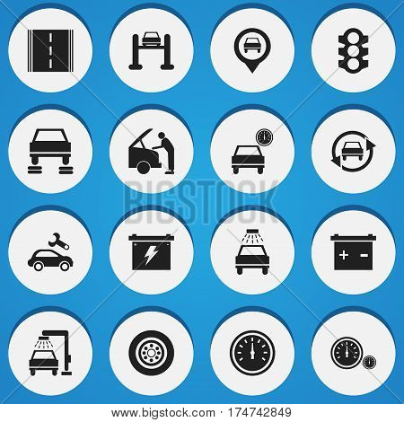 Set Of 16 Editable Traffic Icons. Includes Symbols Such As Speed Control, Stoplight, Car Lave And More. Can Be Used For Web, Mobile, UI And Infographic Design.