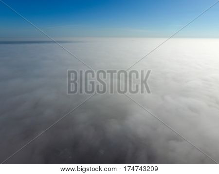 In The Skies Above The Fog. Sunrise Over The Fog. Clouds Near The Ground