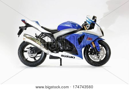 Krasnoyarsk, Russia - 06 January 2017: Toy Blue And White Suzuki Gsx-r 1000