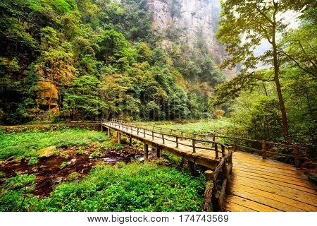 Yellow Wooden Bridge Over Mountain River Among Woods And Rocks