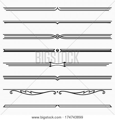 Set of eight dividers on light grey background