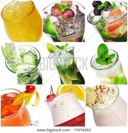 Collage from nine Cocktail Photographs Isolated over White