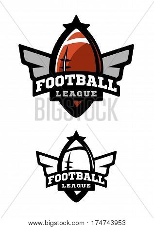 American football. Two variants of the logo color and monochrome logo.