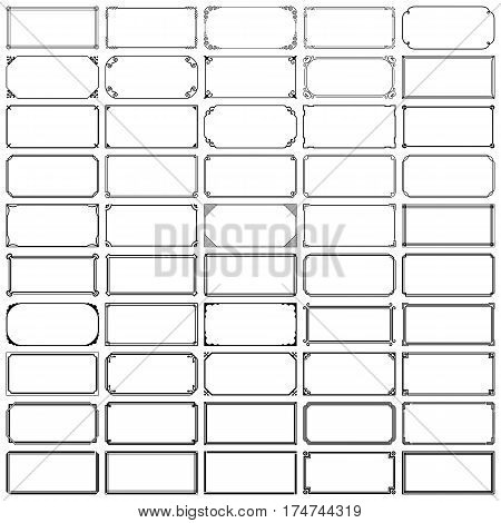 Set of fifty rectangle frames on white background