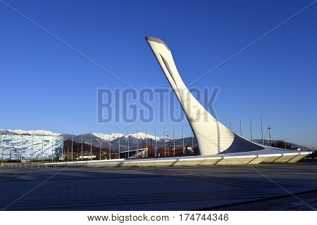 23 December 2016, Sochi, Russia. The torch of the Olympic flame in the Olympic Park.