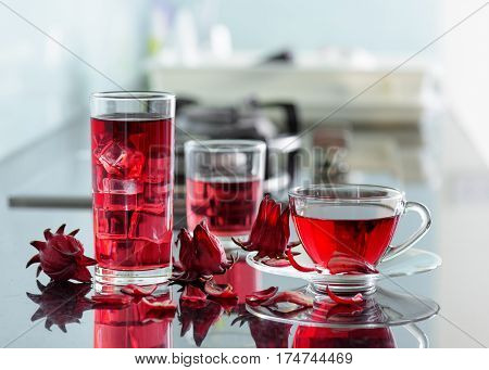 Magenta Hibiscus Tea (rosella, Karkade) On Kitchen Table