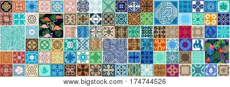 Large set of ceramic tiles with floral and geometric patterns. Spanish, Moroccan and Tunisian motifs.