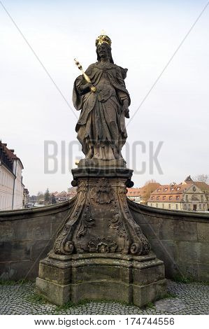 BAMBERG GERMANY - DECEMBER 05 2015: Statue of Queen Kunigunde as Holy Roman Empress in Bamberg Germany