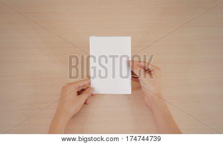Hands Holding Blank White Brochure Booklet In The Hand. Leaflet Presentation. Pamphlet Hand Man. Sho