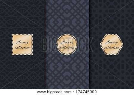 Set of vintage backgrounds for design packing luxury with gold frame. Geometric texture vector.