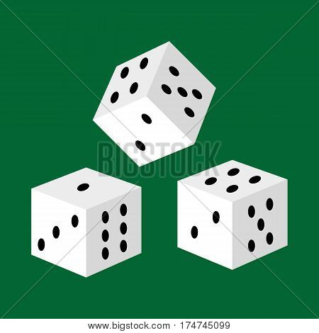 gambling white dice for casino, risk and success playing leisure game isolated vector illustration, lucky number three to take jackpot.