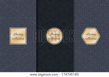 Collection of luxury for the rich backgrounds of packaging with gold elements. Geometric abstract pattern.