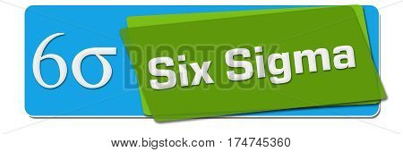 Six sigma text with related symbol written over green blue background.