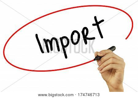 Man Hand Writing Import With Black Marker On Visual Screen. Isolated On Background. Business, Techno