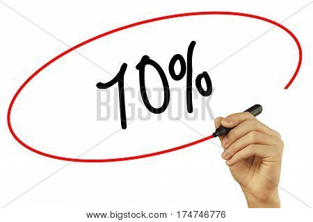 Man Hand Writing  70% With Black Marker On Visual Screen. Isolated On Background. Business, Technolo