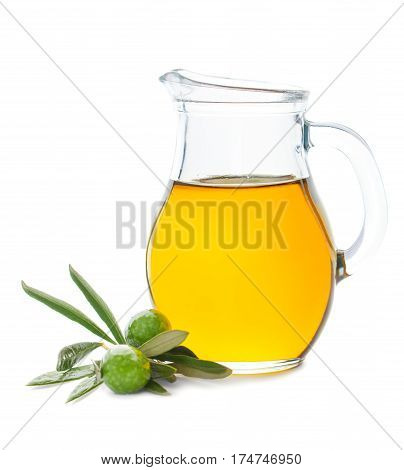 Olive Oil Pitcher and Green Olives Isolated on White Background