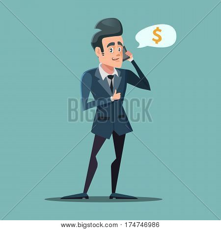 Businessman Talking on the Phone with Thumb Up. Making Money Concept. Vector illustration
