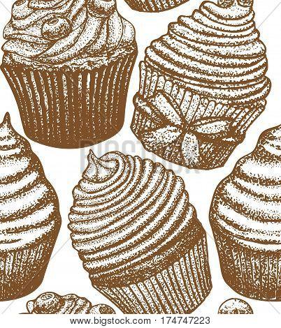 vector hand drawn light seamless cupcake background