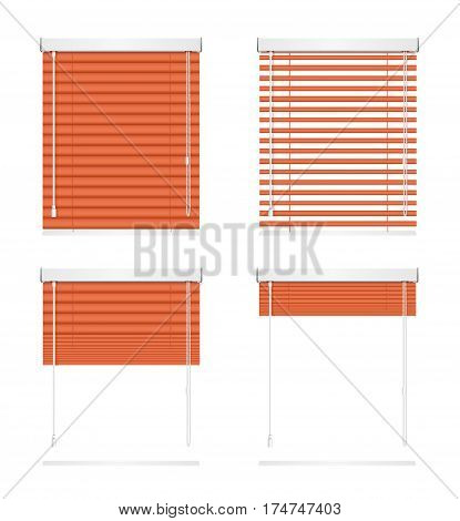 Realistic Red Window Jalousie Roller Shutters Blind Horizontal Set Various Positions - Open, Closed and Half-opened. Vector illustration
