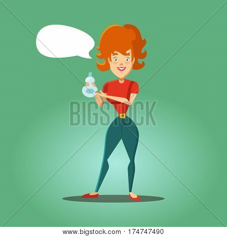 Young Happy Hosewife Advertising Detergent. Cleaning Service. Vector illustration