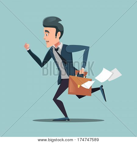 Businessman with Briefcase Late to Work. Man in Rush. Vector illustration
