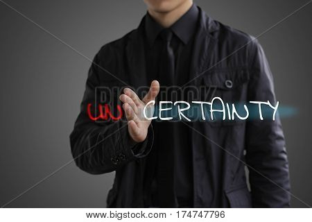 The concept of certainty. Businessman making certainty from uncertainty.