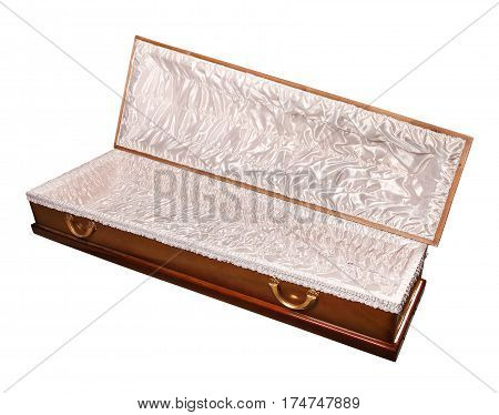 an open coffin, isolated on a white background with clipping path