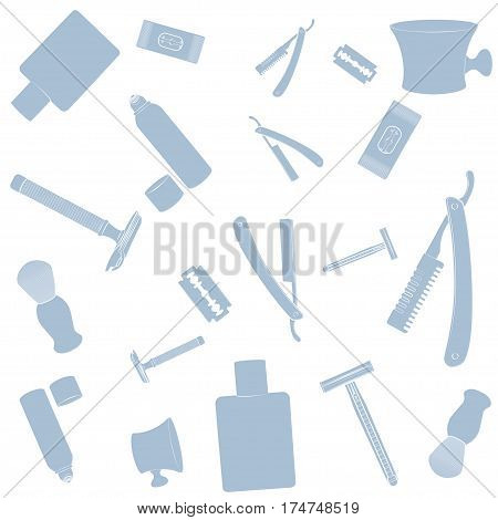 Shaving equipment pattern. Pink images, white background